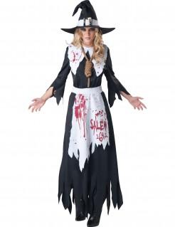 Blutige Hexe für Damen schwarz-weiss-rot