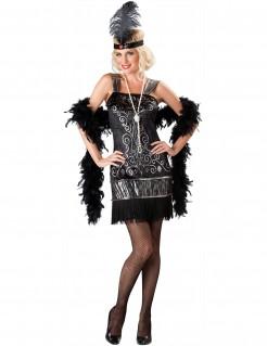 Kostüm Charleston für Damen Deluxe schwarz-silber