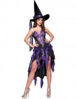 Sexy Zauberin Halloween-Damenkostüm violett-schwarz