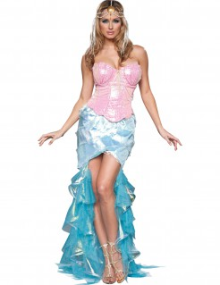 verführerische Meerjungfrau Damenkostüm mit Pailetten rosa