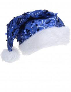 Pailletten-Weihnachtsmütze Weihnachtsmann-Mütze blau-weiss