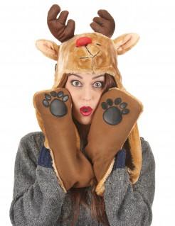 Rentier-Mütze mit Schal Weihnachten braun