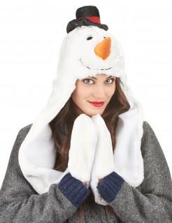 Schneemann Mütze mit Schal Weihnachten weiss-bunt