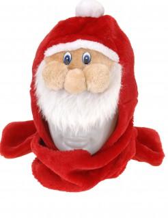 Lustige Weihnachtsmann-Mütze mit Schal Weihnachts-Accessoire bunt