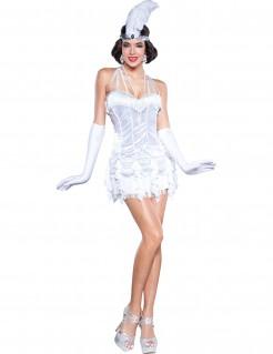 20er-Jahre Showgirl Damenkostüm CanCan weiss