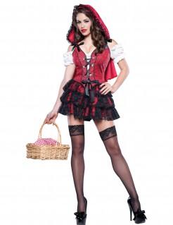 Sexy Rotkäppchen Damen-Kostüm rot-schwarz-weiss