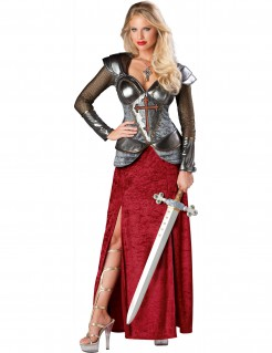 Kostüm Jeanne d`Arc für Damen rot-silber