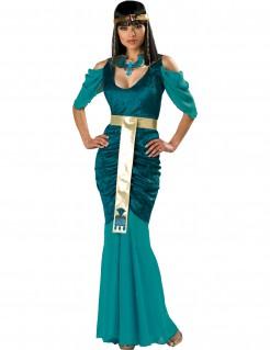 Deluxe ägypterinnen-Damenkostüm Kleopatra türkis-gold