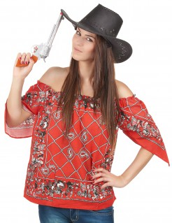 Cowgirl T-Shirt Damen rot