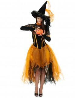 Kürbis Hexe Damenkostüm orange-schwarz