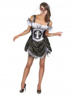 Süßes Skelett Damenkostüm schwarz-weiss