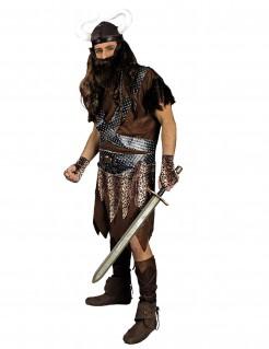Gefährlicher Wikinger Kostüm Mittelalter-Krieger schwarz-braun