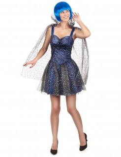 Bezaubernde Sternen-Fee Elfe Damenkostüm blau-gold
