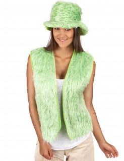 Hippie Fell-Plüschweste Kostümzubehör grün