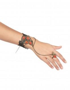 Edles Spitzen-Armband mit Ring schwarz-rot