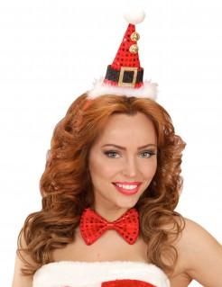 Accessoire-Set Weihnachten Hut und Fliege rot-schwarz