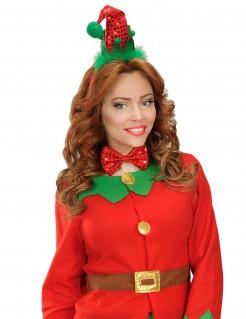 Weihnachtself Kostüm-Set Weihnachts-Accessoire rot-grün