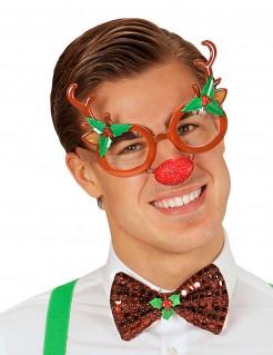 Lustige Weihnachtsbrille Rentier bunt