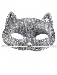 Glitzernde Katzen-Augenmaske mit Pailletten Kostüm-Accessoire silber