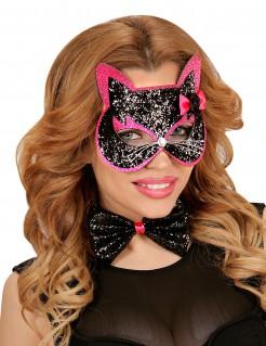 Katzen-Set für Erwachsene schwarz-rosa