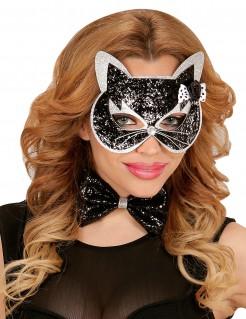 Katzen-Set für Erwachsene schwarz-silber