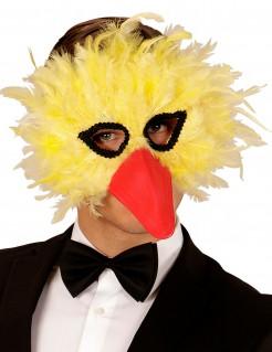 Vogel-Maske mit Federn für Erwachsene gelb