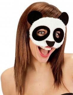 Panda-Augenmaske Tiermaske mit Plüsch weiss-schwarz