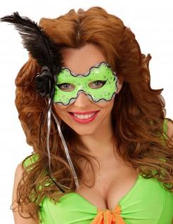 Damen-Augenmaske mit schwarzer Feder grün
