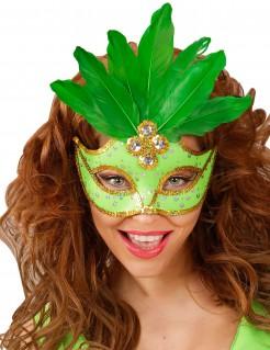 Damen-Augenmaske mit Federn grün