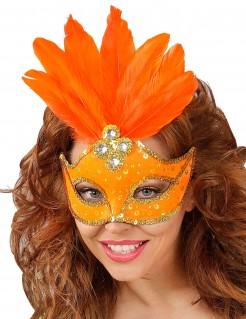 Damen-Augenmaske mit Federn orange