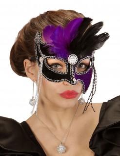 Augenmaske mit Federn und Ketten schwarz-lila