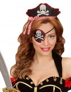 Piratin-Set Augenklappe und Haarreif schwarz-weiss-rot