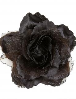 Rose Haarspange schwarz