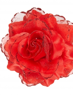 Blüten-Haarspangen Blumen-Haarschmuck rot 10cm