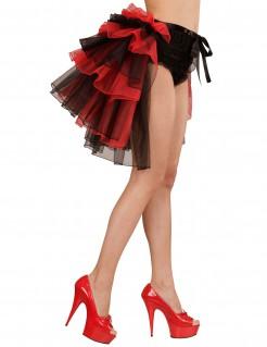 Tutu mit Schleppe Kostümzubehör rot-schwarz 55cm