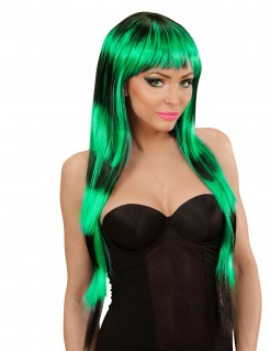 Langhaar Perücke Kostümzubehör mit Pony schwarz-grün