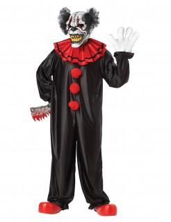Halloween Clown Einteiler für Erwachsene schwarz-rot