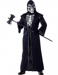 Sensenmann Skelett Halloween-Kostüm Henker schwarz-weiss