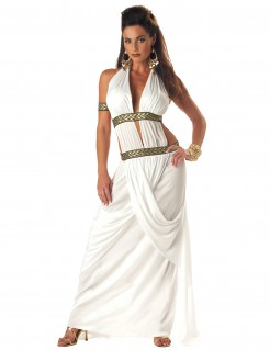 Römerin Kostüm Toga lang weiss-gold