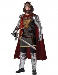 Mittelalter König Herrenkostüm silber-rot
