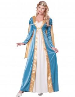 Mittelalter Königin Damenkostüm hellblau-weiss