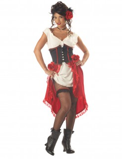Western-Show-Girl Damenkostüm rot-weiss-schwarz