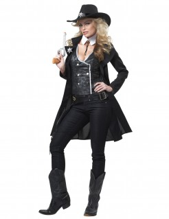 Sheriff-Damenkostüm Karnevalskostüm schwarz-weiss