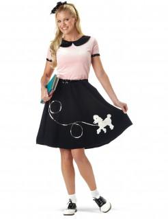 Kostüm 50er Jahre für Damen rosa-schwarz