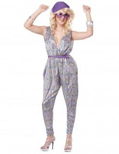 70er-Jahre Disco-Jumpsuit Damenkostüm silber-bunt
