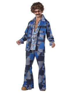 70er Retro Disco Kostüm blau-bunt