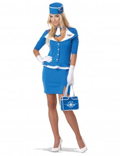 Retro Stewardess Damenkostüm hellblau