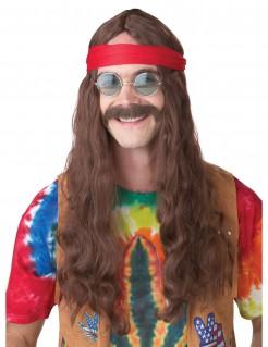 60er Hippie Langhaar Herren Perücke und Bart hellbraun