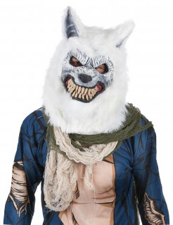Werwolf Halloween Ani-Motion Maske weiss