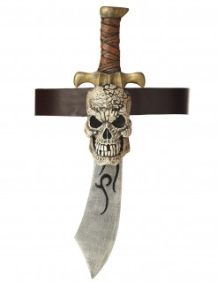 Piraten-Schwert mit Totenkopf-Halterung bunt 53cm